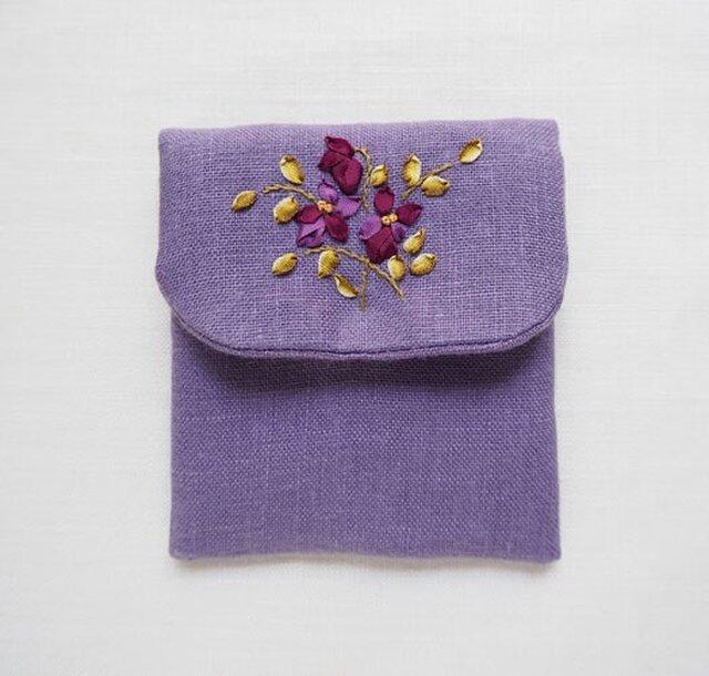 リボン刺しゅうのアクセサリーポーチ すみれ・Purpleの画像1枚目