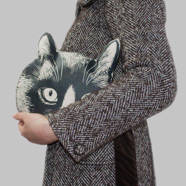 猫の頭のクラッチバッグの画像1枚目