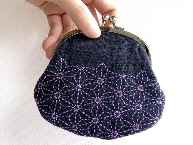 和装美人のかばんの中身・麻の葉模様の刺し子がま口の画像1枚目