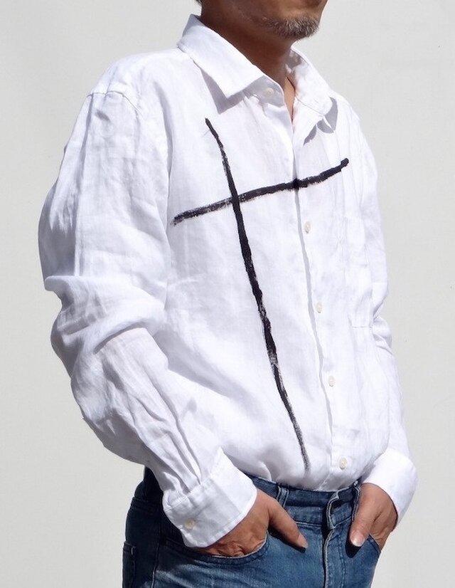 本麻白  クロス柄 メンズシャツ( 送料無料)の画像1枚目