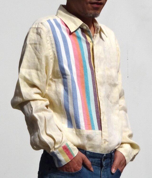 本麻黄色に綺麗なストライプをはめ込んだメンズシャツ( 送料無料)の画像1枚目
