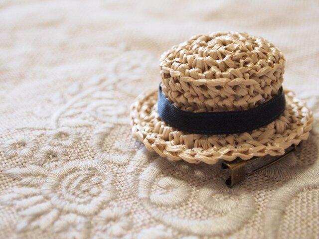 夏が来たぞ~!!カンカン帽のブローチ 受注制作の画像1枚目