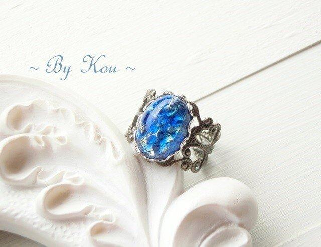 .:.。o○o。.* Blue Opal .:.。o○o。.*。・ヴィンテージ・リング。の画像1枚目