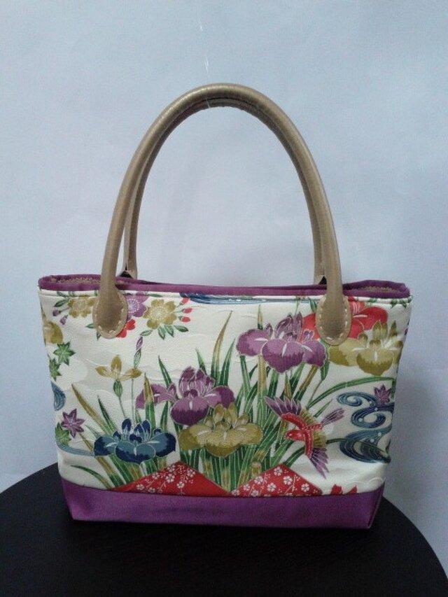 四季の花柄・着物地・トートバッグの画像1枚目
