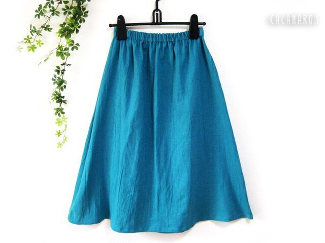 着丈が選べる綿麻ギャザースカート ピーコックブルー 【受注】の画像1枚目