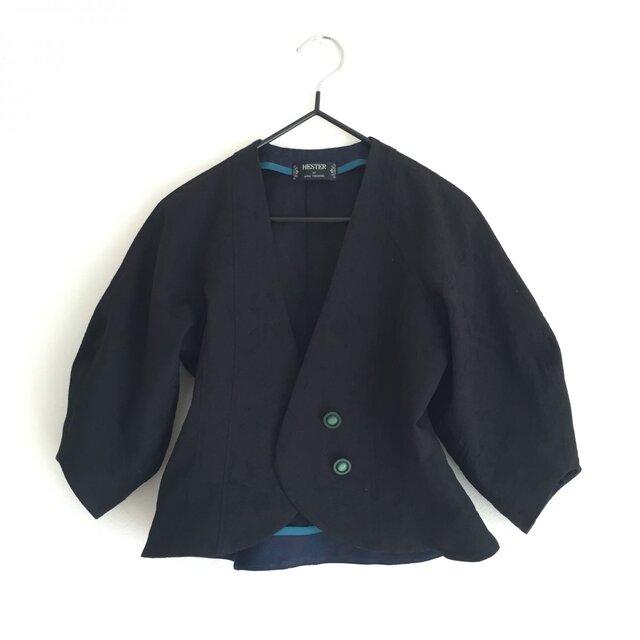 ツボミ膨らむお袖のジャケット joe  黒の綿ジャガード ◆1点物◆ の画像1枚目