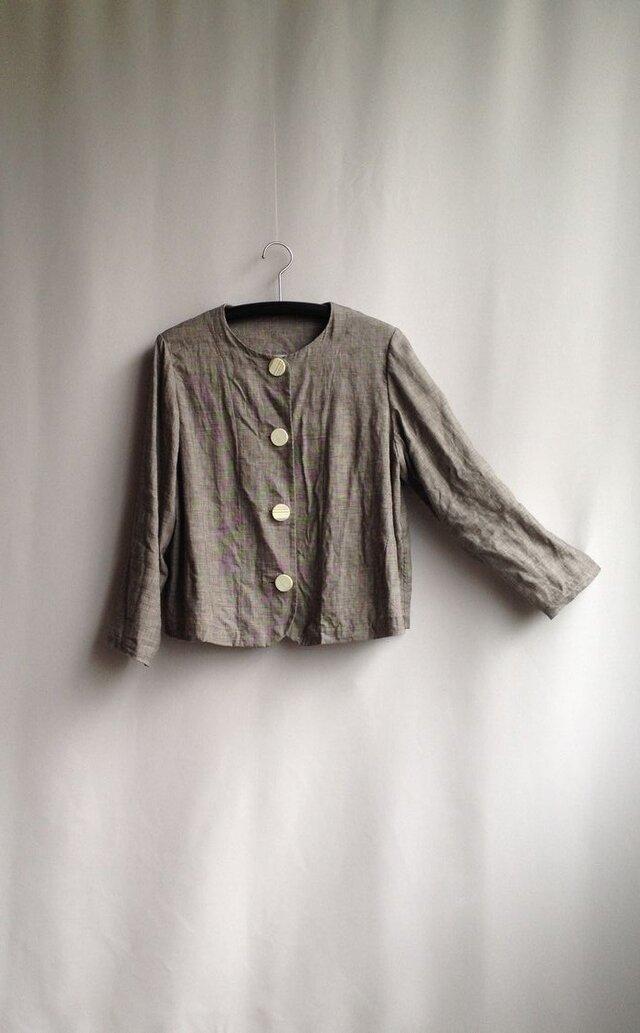 ショートジャケット セットインスリーブ(付け袖) グレーがかった濃い目のサンドベージュの画像1枚目