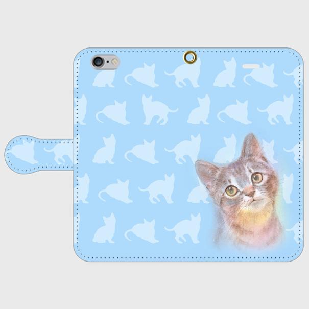 見上げる子猫ちゃん  手帳型スマホケース iPhone6/6sの画像1枚目