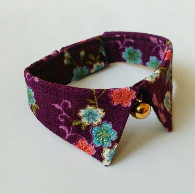和柄(桜)おしゃれ襟つきカラー(首輪)紫【S/M/L】の画像1枚目