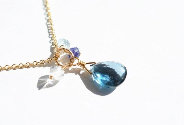 宝石質ロンドンブルートパーズ*ブリオレットカットネックレス【14kgf】の画像1枚目