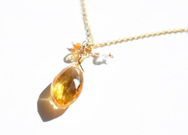 宝石質シトリン*マーキスブリオレットカットカット*ペンダントトップ【14kgf】の画像1枚目