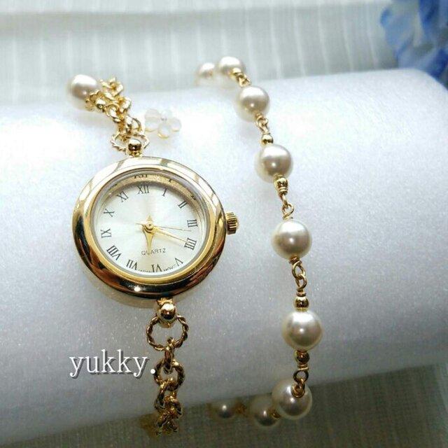 【再販】<受注制作>ブレス腕時計+ブレス(クリーム系G) ・Bの画像1枚目