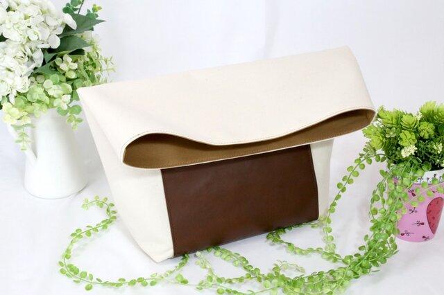 革と倉敷帆布★ペーパーバッグ的なクラッチバッグ①★生成り☓茶(6508)の画像1枚目