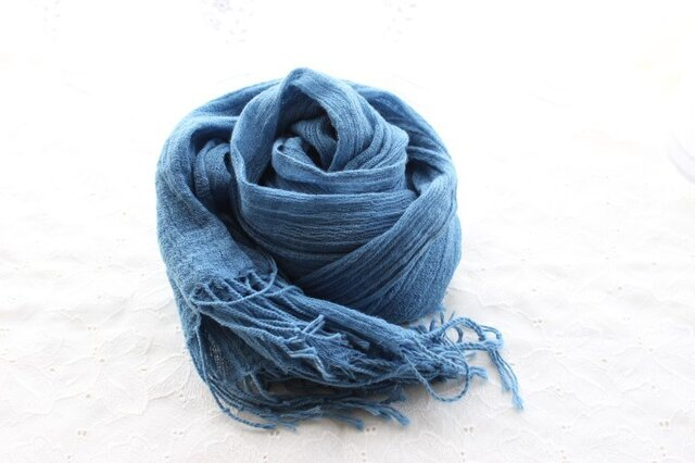 zxcvbnmさまオーダー・cottonの藍・<花浅葱>stoleⅡの画像1枚目
