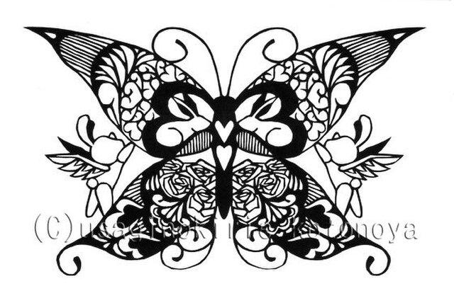 <切り絵>蝶とうさぎだまし絵ポストカード3の画像1枚目
