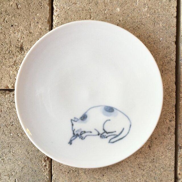 染付4寸猫皿 46の画像1枚目