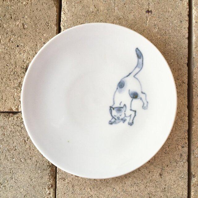 染付4寸猫皿 48の画像1枚目