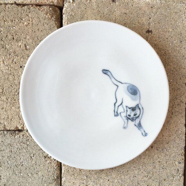 染付4寸猫皿 49の画像1枚目