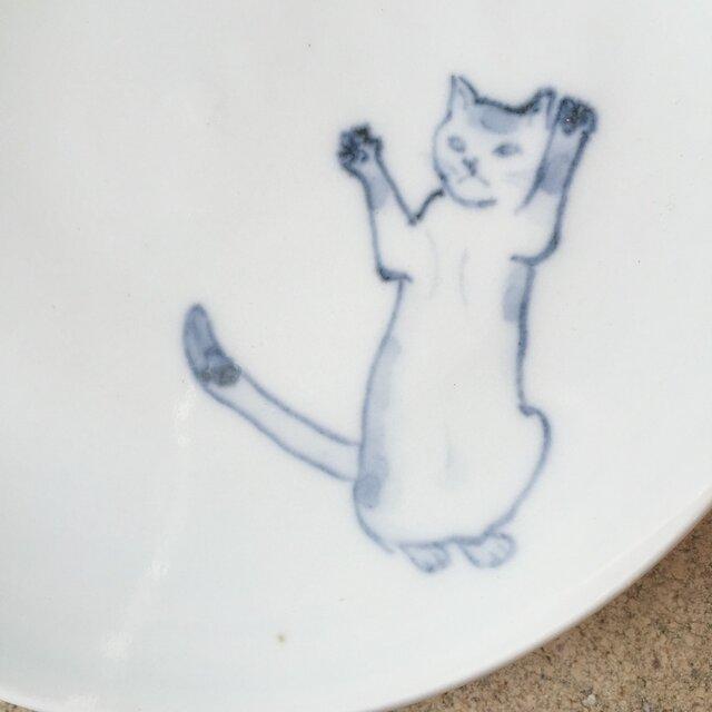 染付5寸猫皿 47の画像1枚目