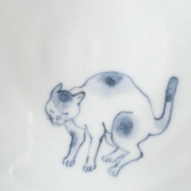 染付5寸猫皿 49の画像1枚目