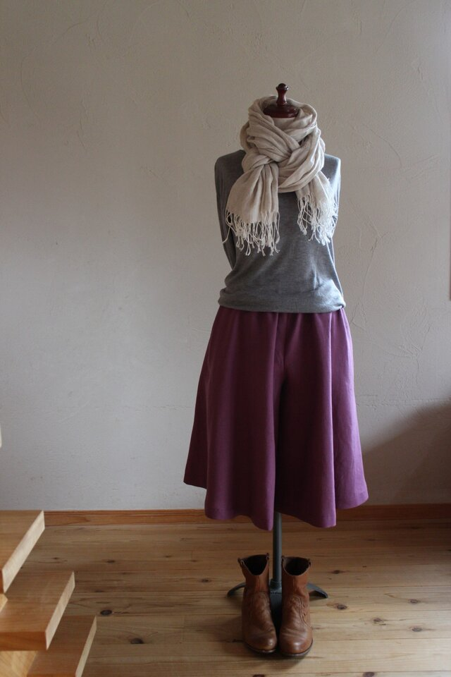 Tさまオーダー リネンガウチョパンツ「渋いピンクよりの紫」マキシ丈 の画像1枚目