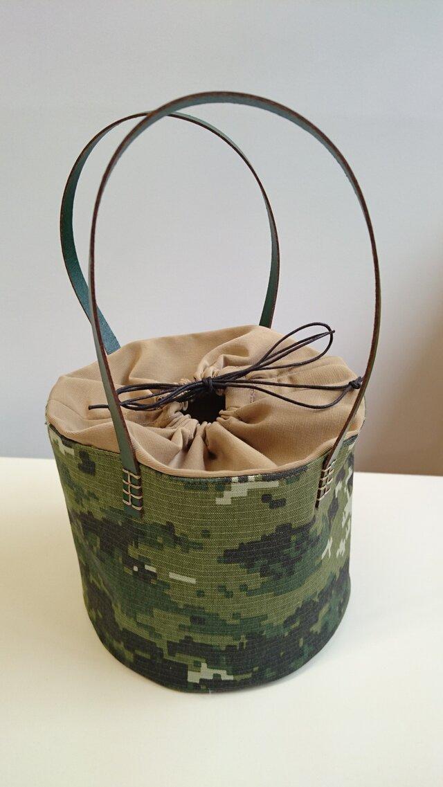 ピッコロ型ミニトートバッグ  ~ デジタルカモフラ柄 ~の画像1枚目