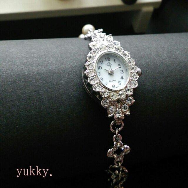 <受注制作>ブレス時計(シルバー×オーバル)パールの画像1枚目
