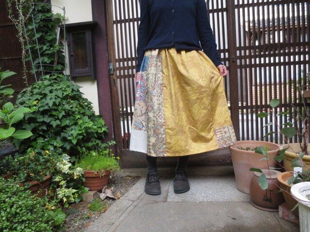着物リメイク☆夏が待ち遠しい黄色の紬で…華やか優しいお出かけスカート77㎝丈の画像1枚目