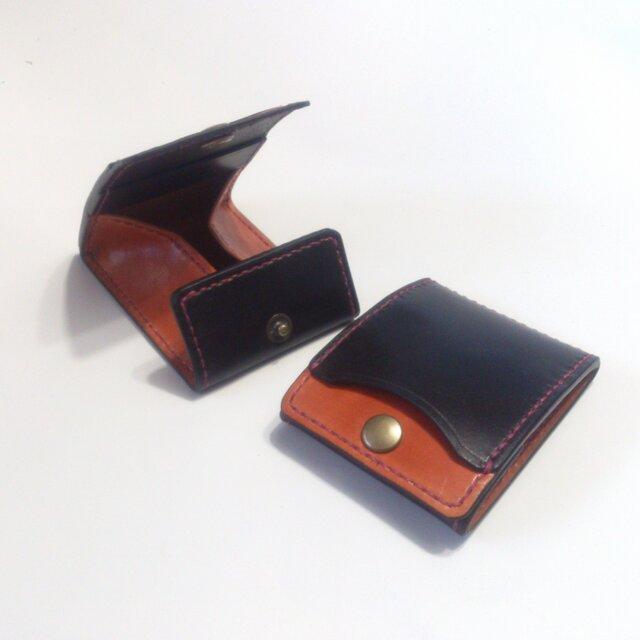 カードとコインの財布Ⅱ CC-07 コインケース 黒/赤茶【受注生産】の画像1枚目