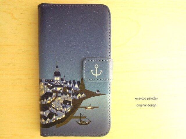 【iPhone6/6s対応】手帳型ケース-Night of the port town- 一点物の画像1枚目