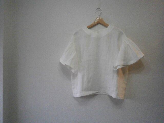 en-enフランスリネン・バイオウオッシュ・ギャザー袖プルオーバー・オフホワイト1642)の画像1枚目