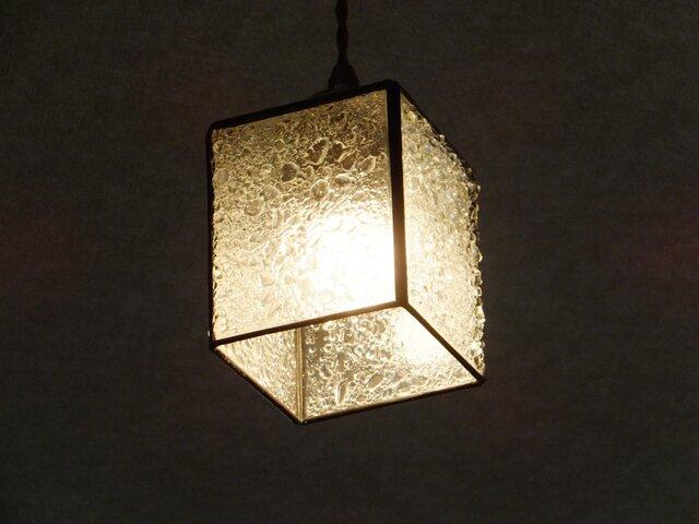 【照明】ステンドグラス、ペンダントライト,キューブ、クリアーの画像1枚目