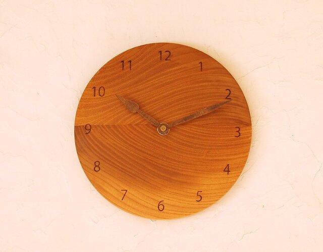 掛け時計 丸 ケヤキ材36の画像1枚目