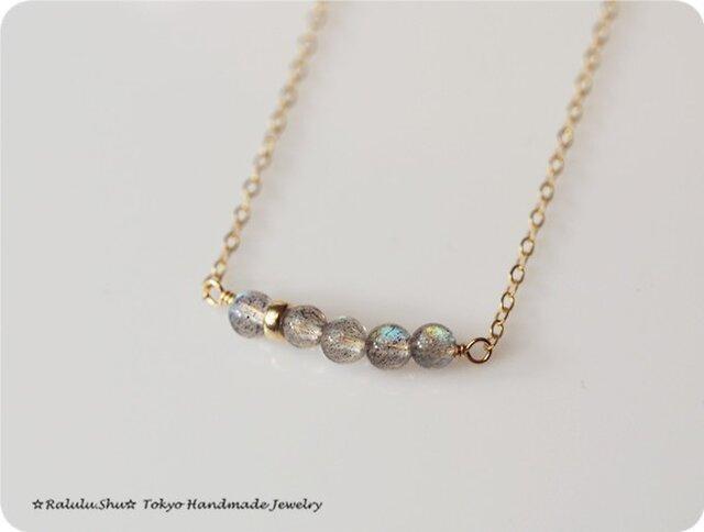再販 ラブラドライト 虹のネックレスの画像1枚目