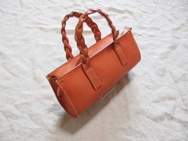 小さな手縫いバッグ コーラルオレンジの画像1枚目