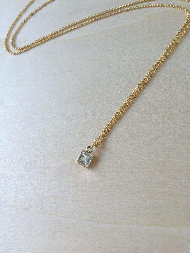 スクエア型ホワイトトパーズのネックレスの画像1枚目