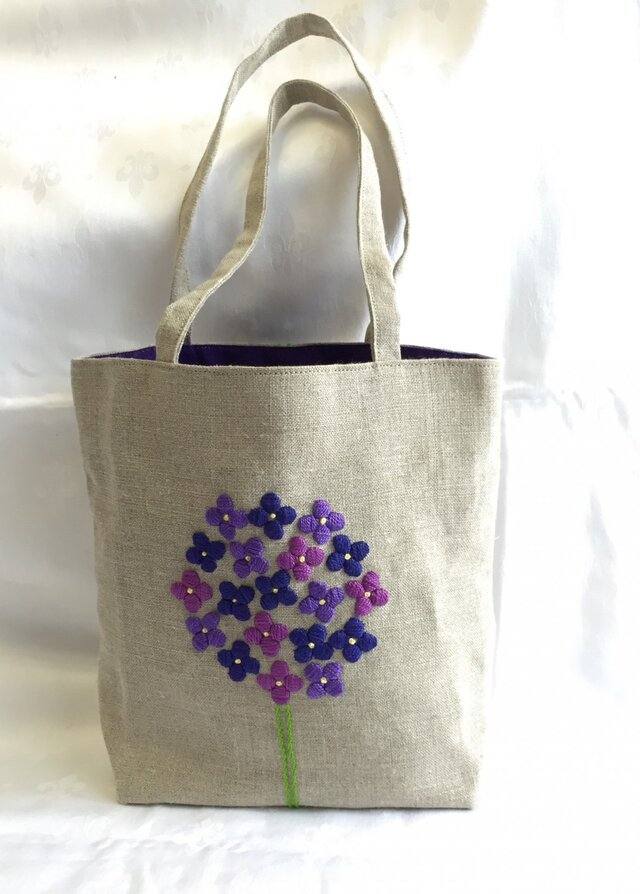 あじさい刺繍のバッグの画像1枚目
