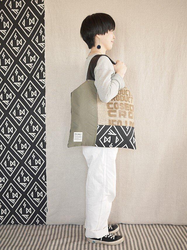 Coffee patchwork bag02-a (L)の画像1枚目
