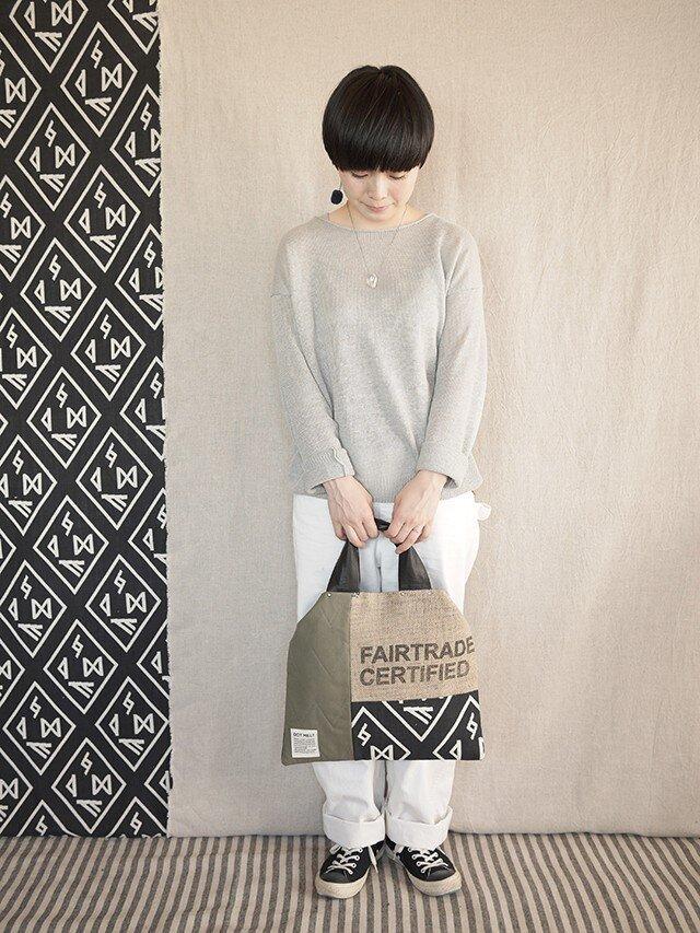 Coffee patchwork bag02-a (M)の画像1枚目