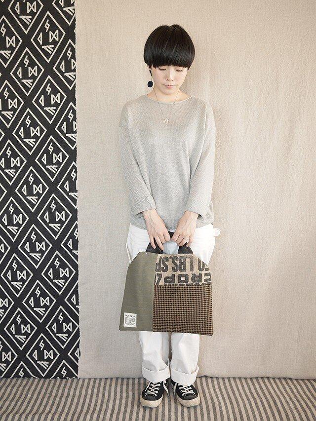 Coffee patchwork bag02-c (M)の画像1枚目