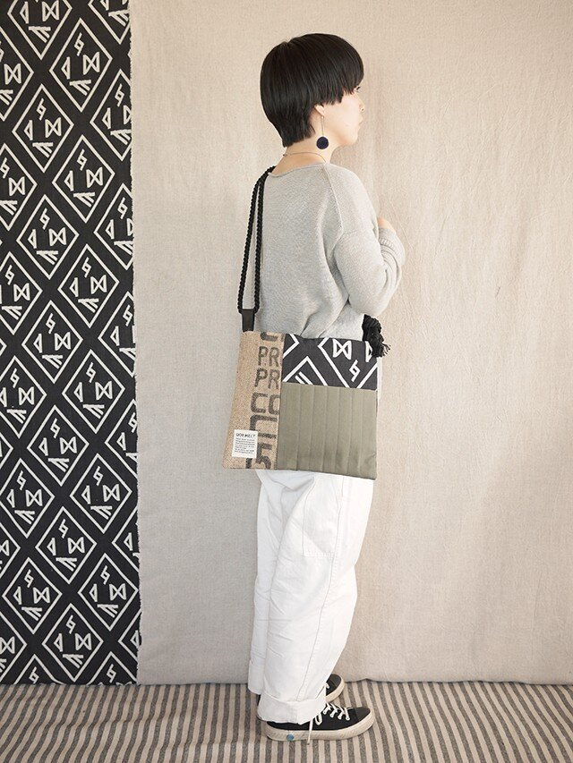 Coffee patchwork bag02-c (S)の画像1枚目