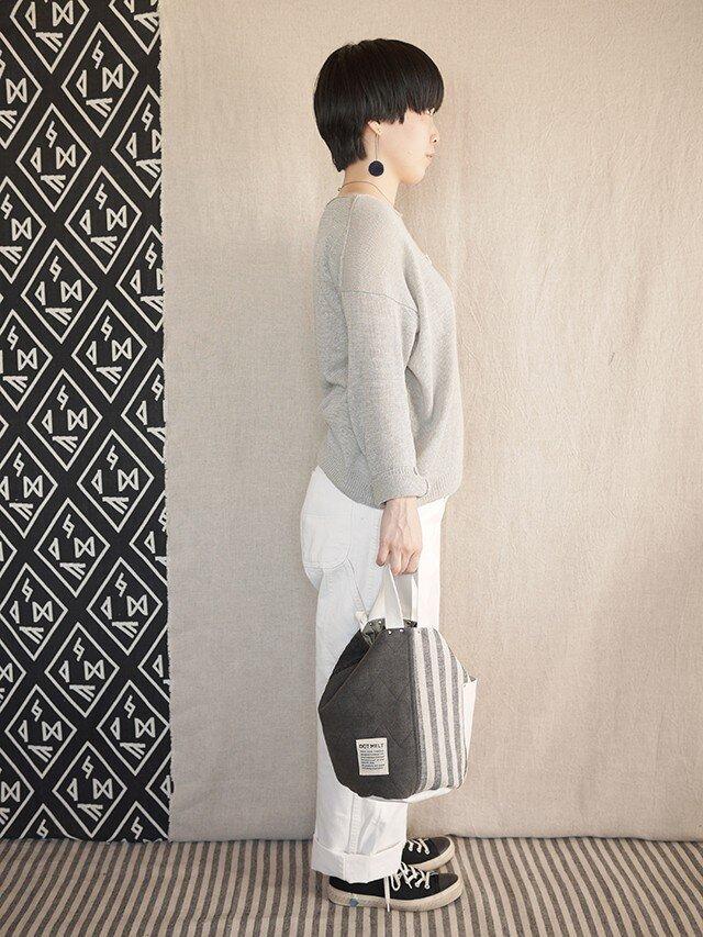 quilting patchwork bucketbag (sumi gray)の画像1枚目