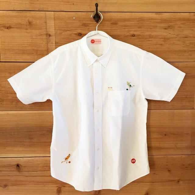 BOWLING 刺繍 ボタンダウン OXホワイトシャツの画像1枚目
