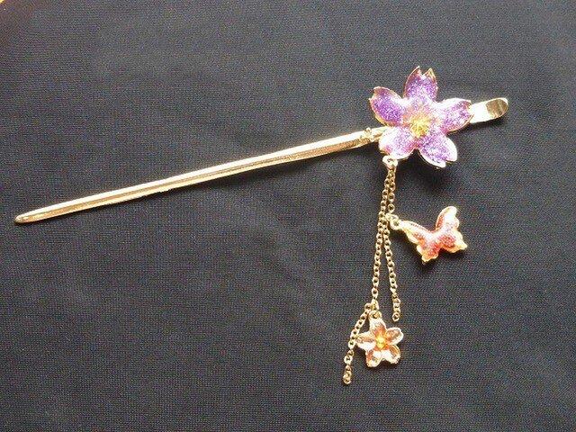 かんざし 桜 「 夜桜 紫ラメ 」1の画像1枚目