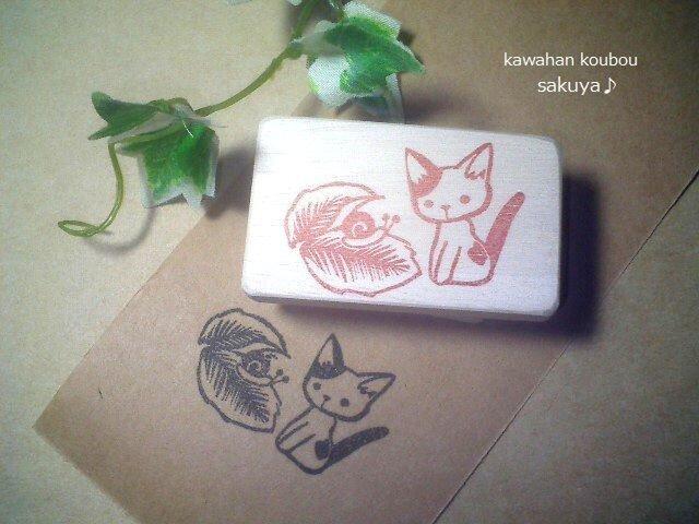 猫とかたつむり・消しゴムハンコの画像1枚目