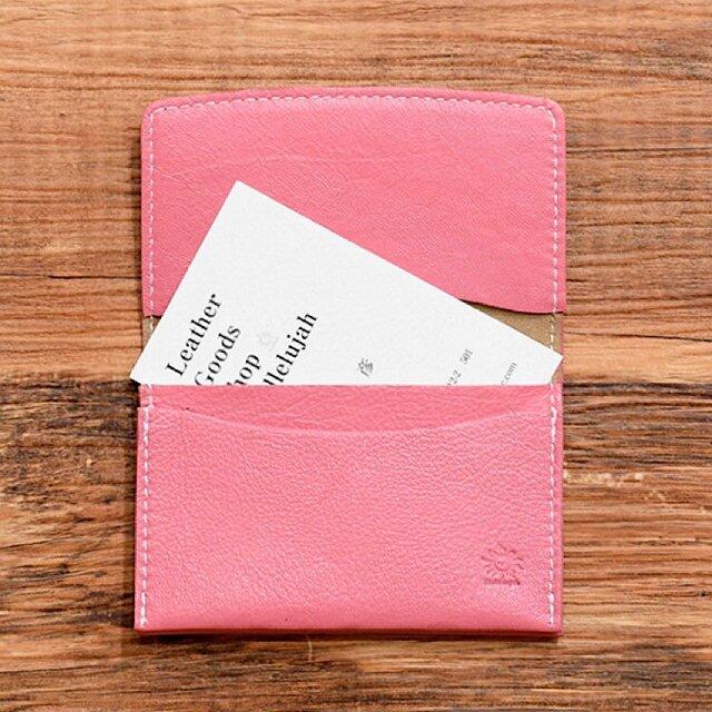 しなやかで柔らかい山羊革の名刺入れ ピンク 名入れできますの画像1枚目