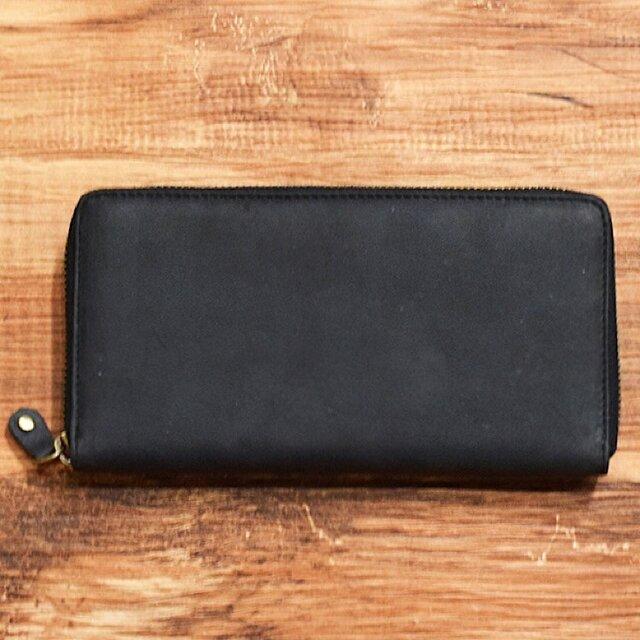 オールレザーで仕上げたラウンドファスナー長財布 もちろん本革 ブラック 名入れできますの画像1枚目