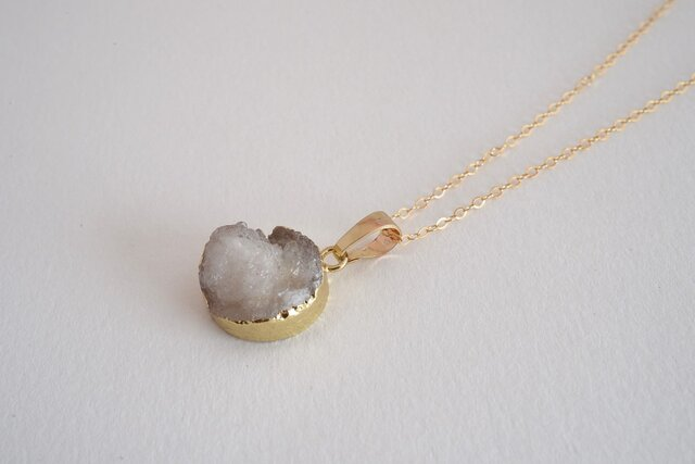 STONE Drusy necklace whiteの画像1枚目