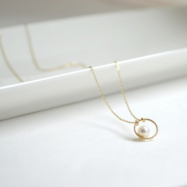 k10 Circle pearl Necklaceの画像1枚目