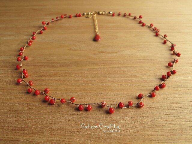 受注*Necklace_Beans (coral red)の画像1枚目